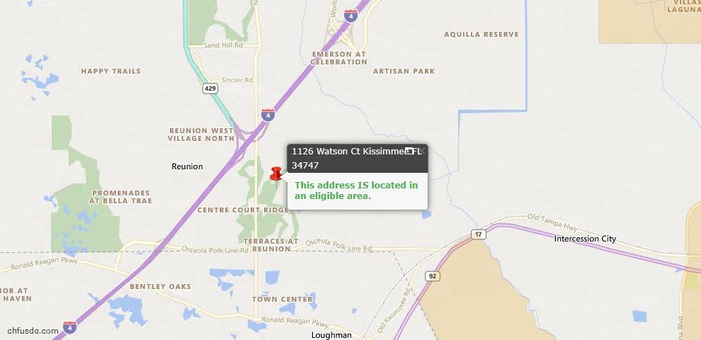 USDA Loan Eligiblity Map - 1126 Watson Ct, Kissimmee, FL 34747