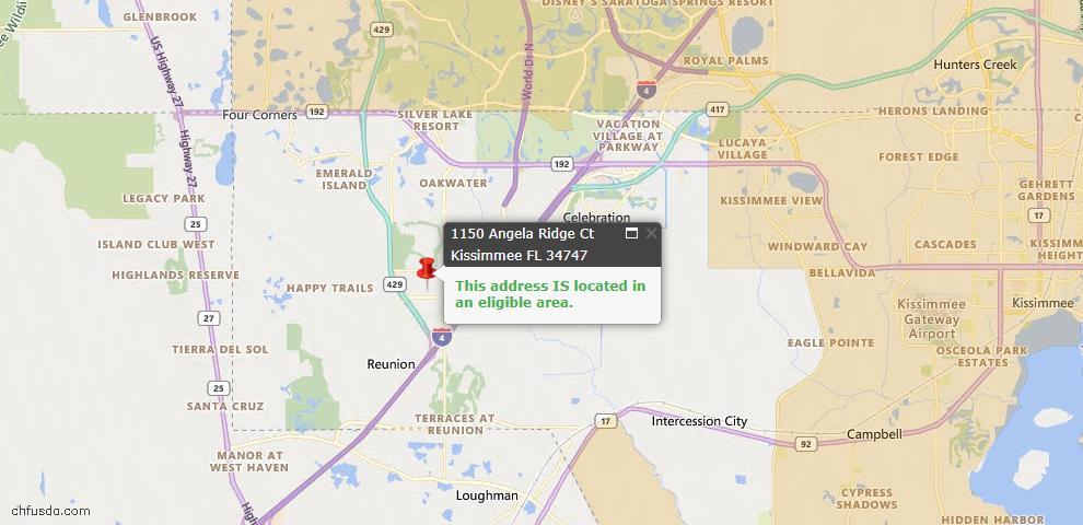 USDA Loan Eligiblity Map - 1150 Angela Ridge Ct, Kissimmee, FL 34747