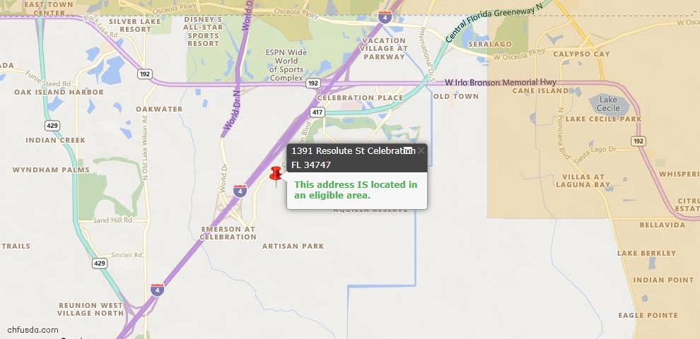 USDA Loan Eligiblity Maps From - 34747, FL