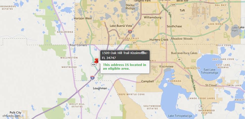 USDA Loan Eligiblity Map - 1509 Oak Hill Trl, Kissimmee, FL 34747