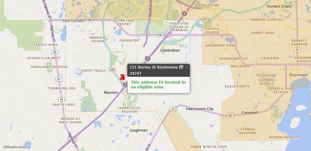 USDA Loan Eligiblity Map - 151 Burma St, Kissimmee, FL 34747