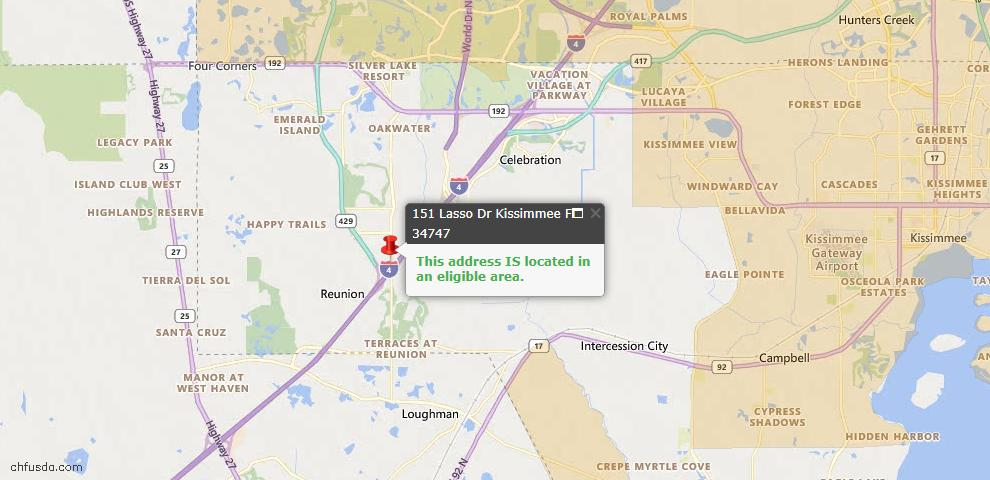 USDA Loan Eligiblity Map - 151 Lasso Dr, Kissimmee, FL 34747