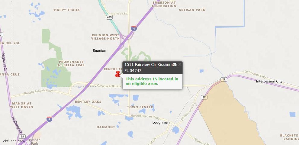 USDA Loan Eligiblity Map - 1511 Fairview Cir, Kissimmee, FL 34747