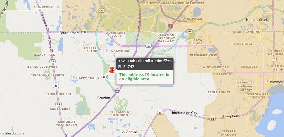 USDA Loan Eligiblity Map - 1521 Oak Hill Trl, Kissimmee, FL 34747