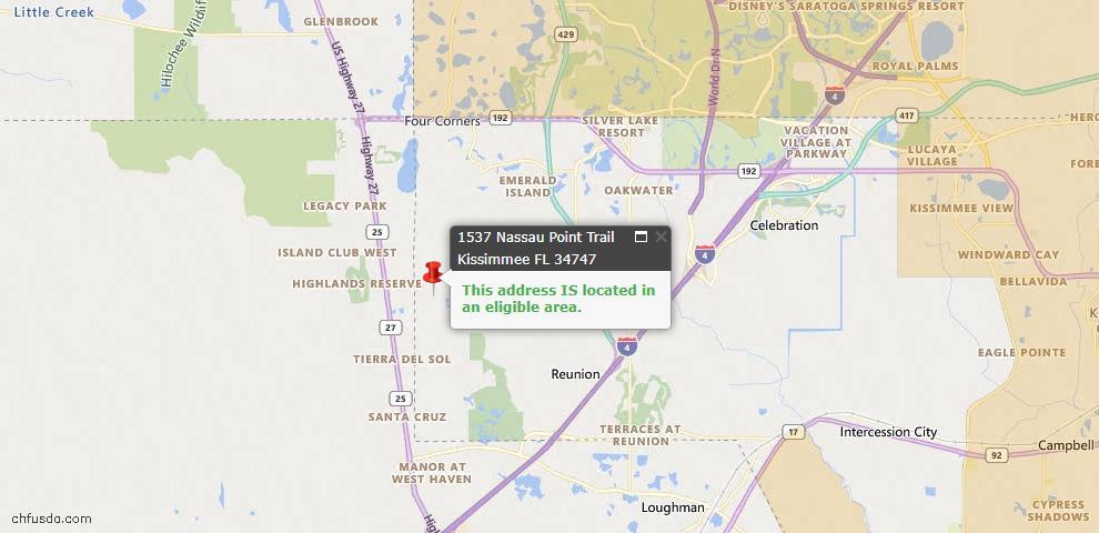 USDA Loan Eligiblity Map - 1537 Nassau Point Trl, Kissimmee, FL 34747