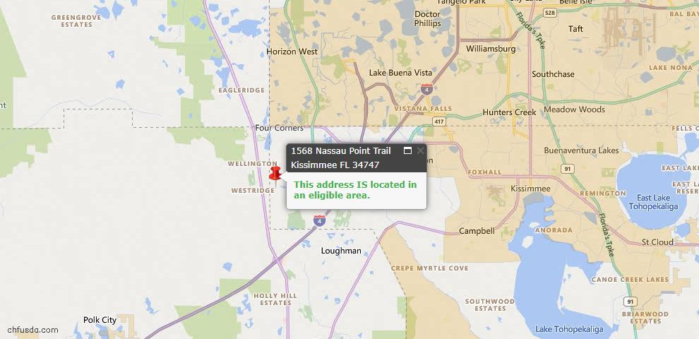 USDA Loan Eligiblity Map - 1568 Nassau Point Trl, Kissimmee, FL 34747