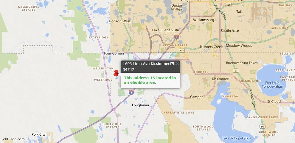 USDA Loan Eligiblity Map - 1603 Lima Ave, Kissimmee, FL 34747