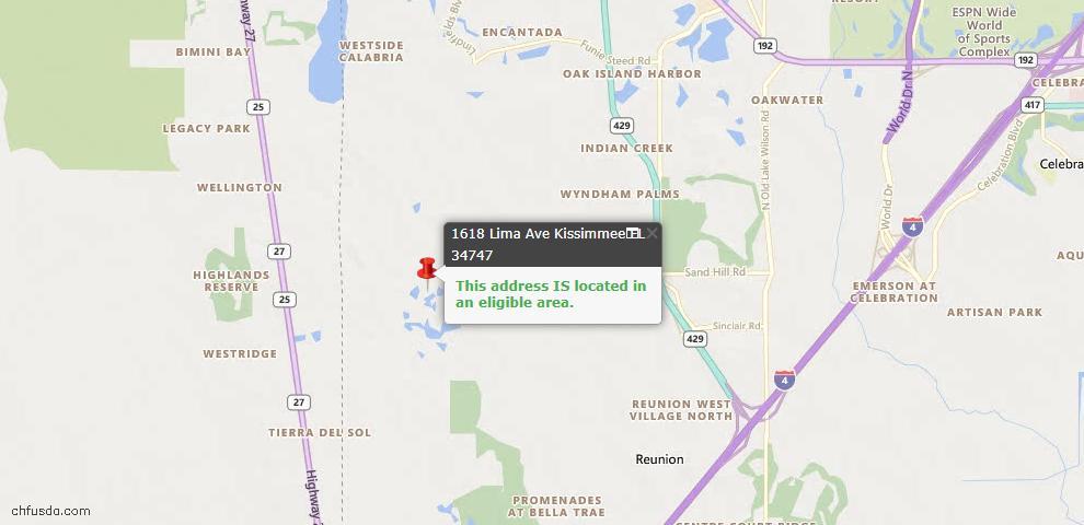 USDA Loan Eligiblity Map - 1618 Lima Ave, Kissimmee, FL 34747