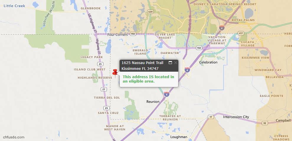 USDA Loan Eligiblity Map - 1625 Nassau Point Trl, Kissimmee, FL 34747
