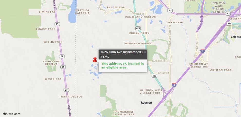USDA Loan Eligiblity Map - 1626 Lima Ave, Kissimmee, FL 34747