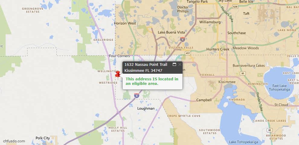 USDA Loan Eligiblity Map - 1632 Nassau Point Trl, Kissimmee, FL 34747