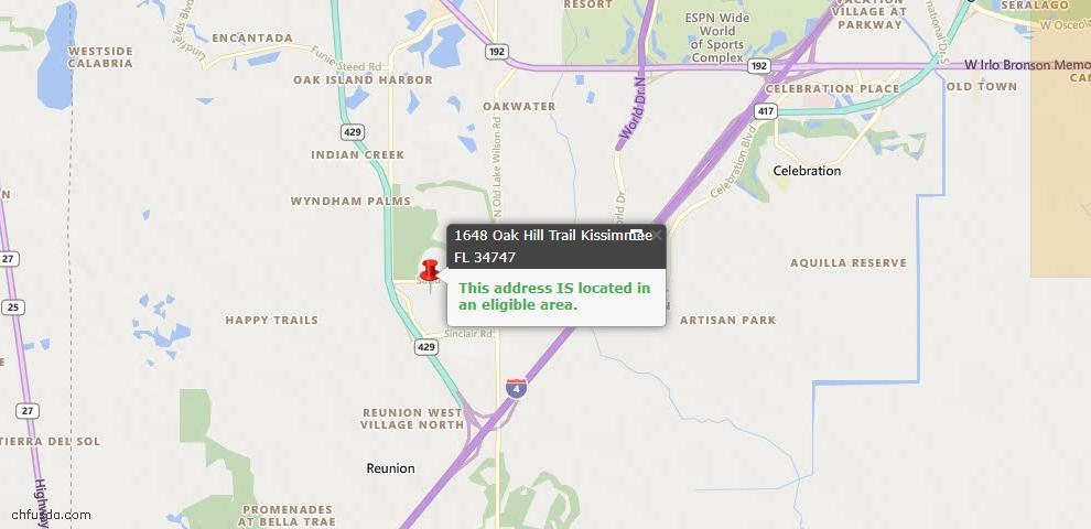 USDA Loan Eligiblity Map - 1648 Oak Hill Trl, Kissimmee, FL 34747