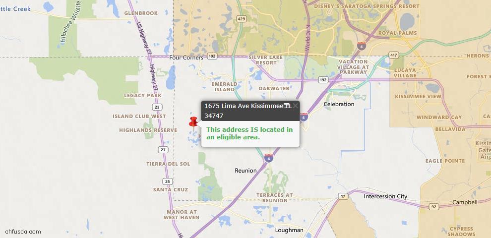 USDA Loan Eligiblity Map - 1675 Lima Ave, Kissimmee, FL 34747