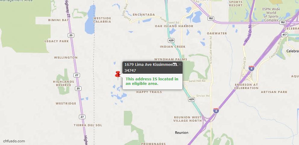 USDA Loan Eligiblity Map - 1679 Lima Ave, Kissimmee, FL 34747