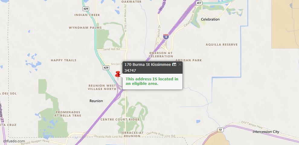 USDA Loan Eligiblity Map - 170 Burma St, Kissimmee, FL 34747