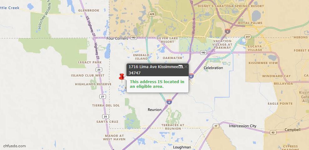 USDA Loan Eligiblity Map - 1716 Lima Ave, Kissimmee, FL 34747