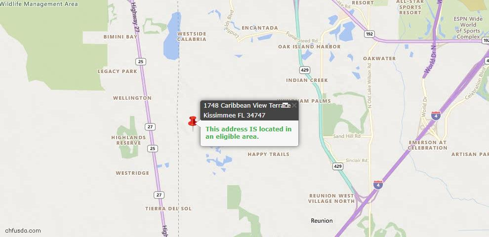 USDA Loan Eligiblity Map - 1748 Caribbean View Ter, Kissimmee, FL 34747