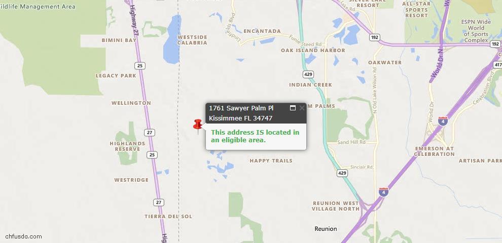 USDA Loan Eligiblity Map - 1761 Sawyer Palm Pl, Kissimmee, FL 34747