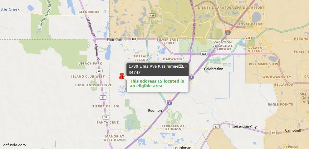 USDA Loan Eligiblity Map - 1780 Lima Ave, Kissimmee, FL 34747