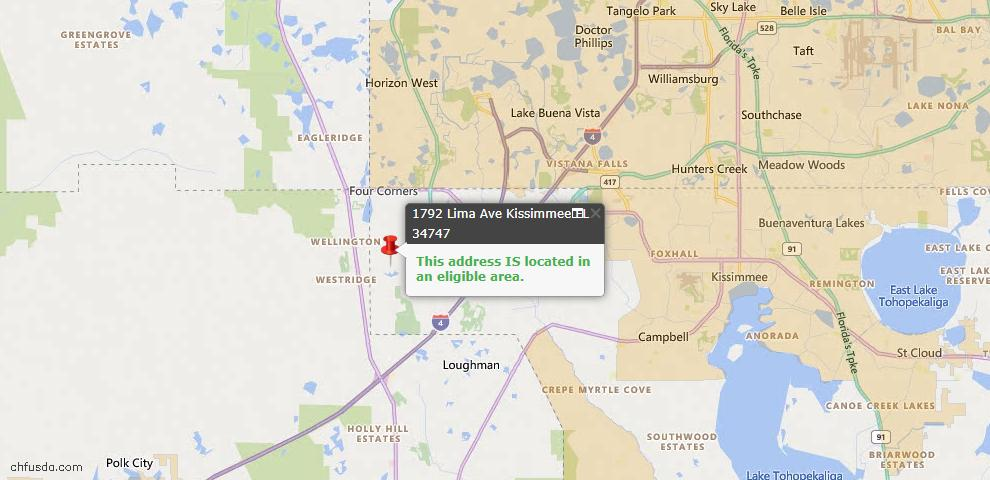 USDA Loan Eligiblity Map - 1792 Lima Ave, Kissimmee, FL 34747