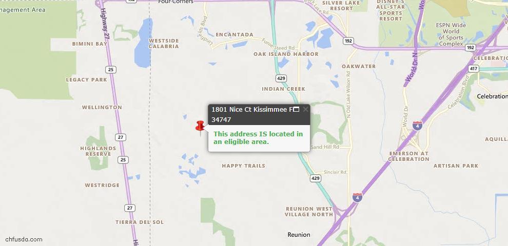 USDA Loan Eligiblity Map - 1801 Nice Ct, Kissimmee, FL 34747
