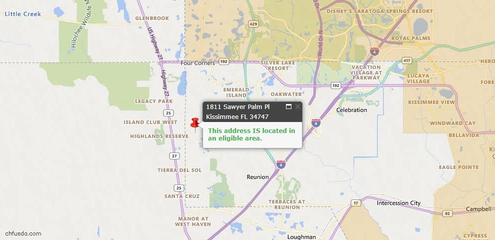 USDA Loan Eligiblity Map - 1811 Sawyer Palm Pl, Kissimmee, FL 34747