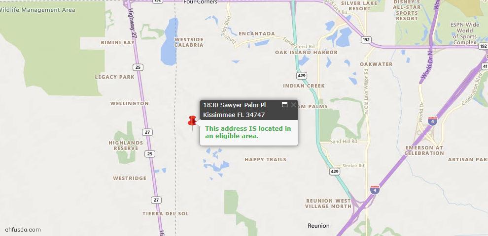 USDA Loan Eligiblity Map - 1830 Sawyer Palm Pl, Kissimmee, FL 34747
