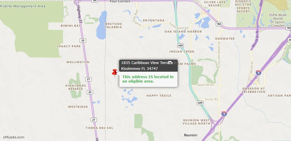USDA Loan Eligiblity Map - 1835 Caribbean View Ter, Kissimmee, FL 34747