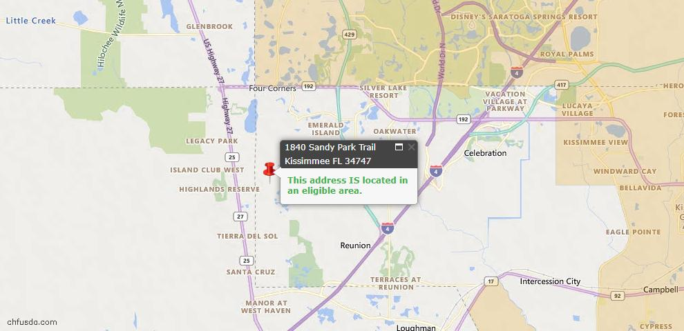 USDA Loan Eligiblity Map - 1840 Sandy Park Trl, Kissimmee, FL 34747