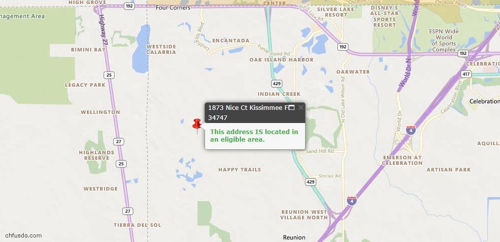 USDA Loan Eligiblity Map - 1873 Nice Ct, Kissimmee, FL 34747