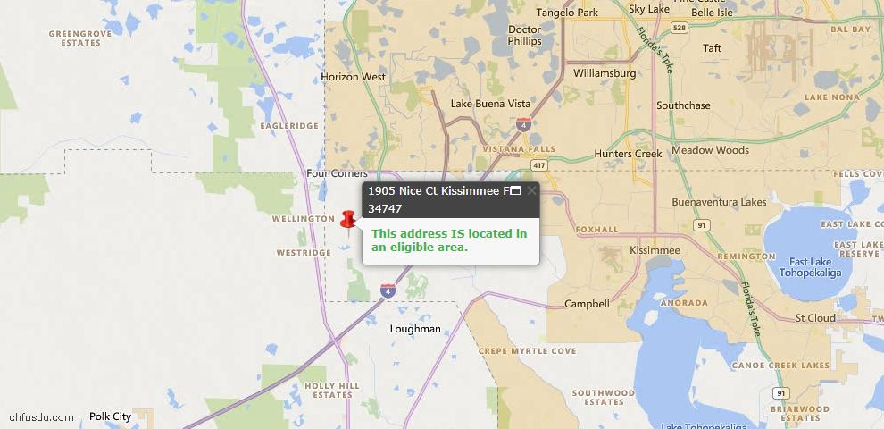 USDA Loan Eligiblity Map - 1905 Nice Ct, Kissimmee, FL 34747