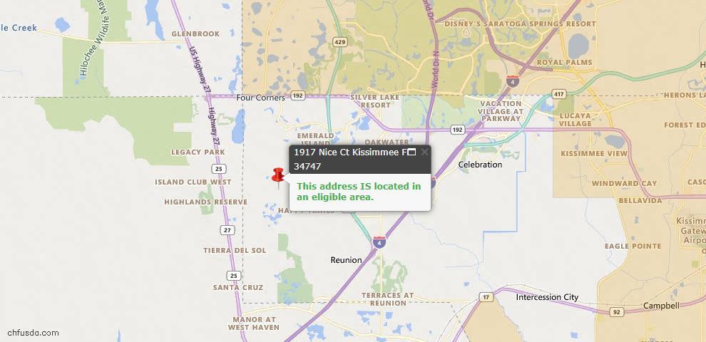 USDA Loan Eligiblity Map - 1917 Nice Ct, Kissimmee, FL 34747