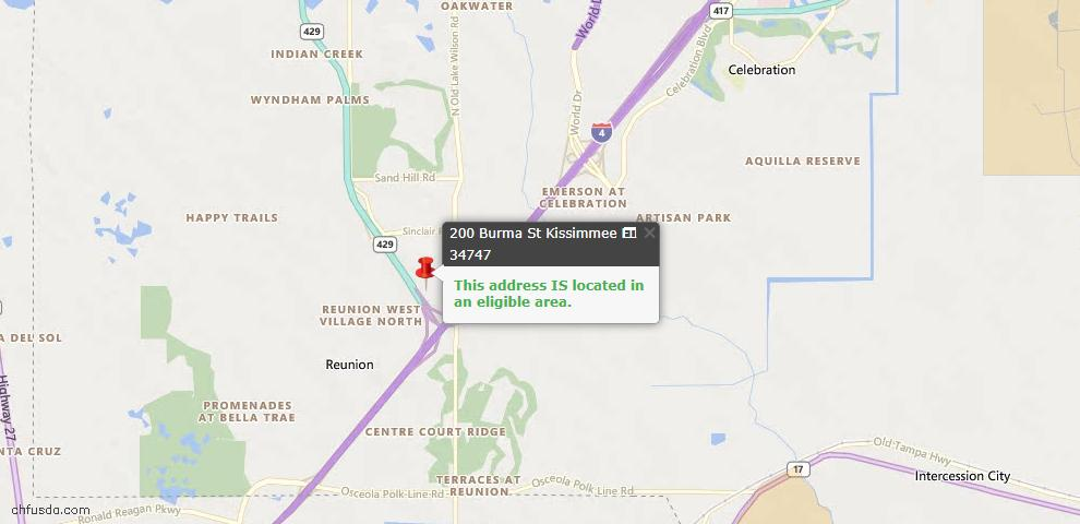 USDA Loan Eligiblity Map - 200 Burma, Kissimmee, FL 34747