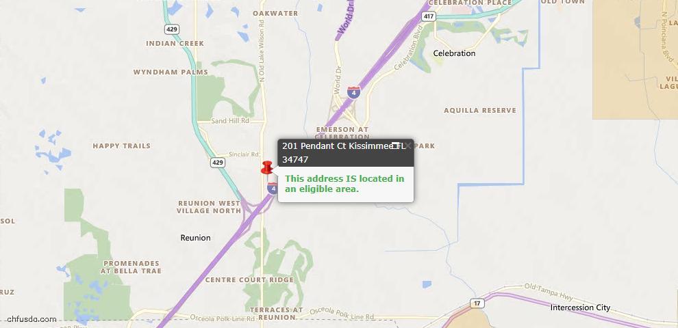 USDA Loan Eligiblity Map - 201 Pendant Ct, Kissimmee, FL 34747