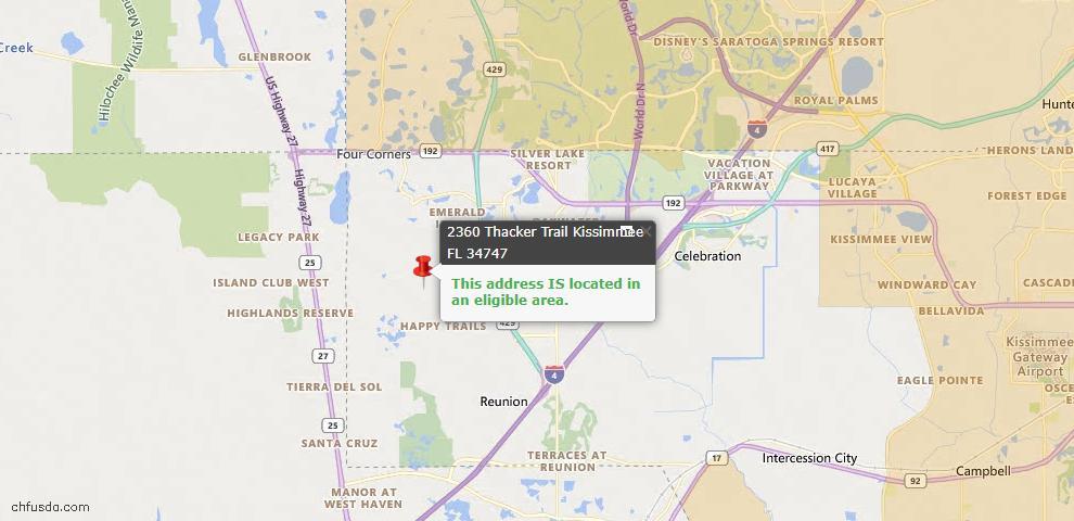 USDA Loan Eligiblity Map - 2360 Thacker Trl, Kissimmee, FL 34747