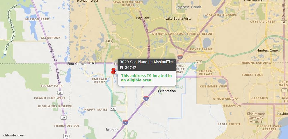 USDA Loan Eligiblity Map - 3029 Sea Plane Ln, Kissimmee, FL 34747