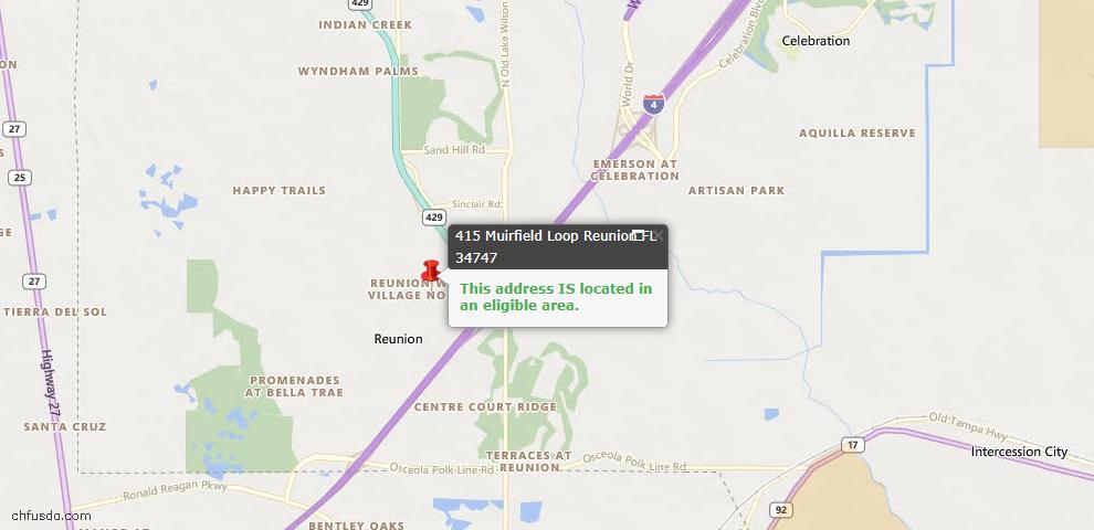USDA Loan Eligiblity Maps From - Reunion, FL
