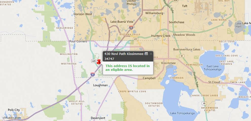 USDA Loan Eligiblity Map - 430 Novi Path, Kissimmee, FL 34747