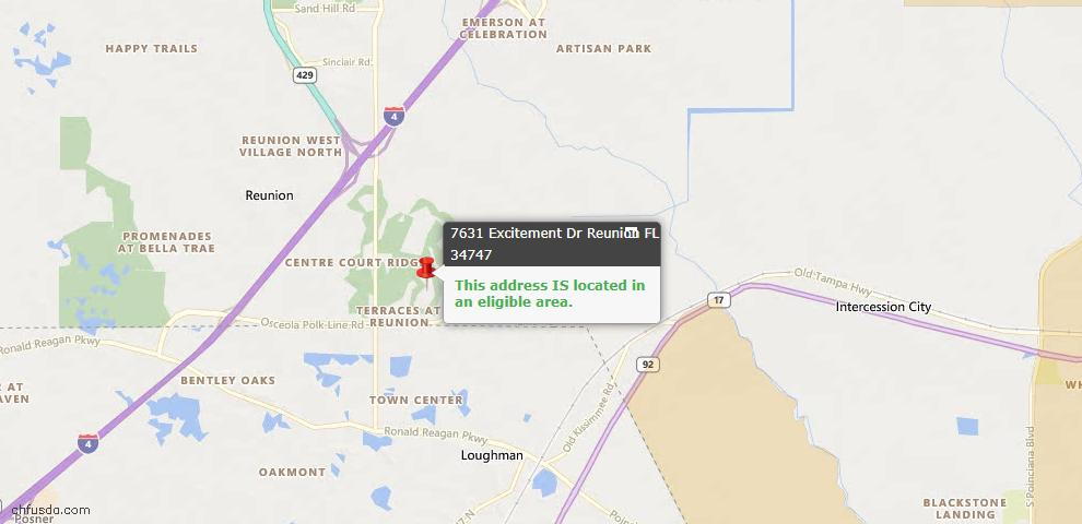 USDA Loan Eligiblity Map - 7631 Excitement Dr, Reunion, FL 34747