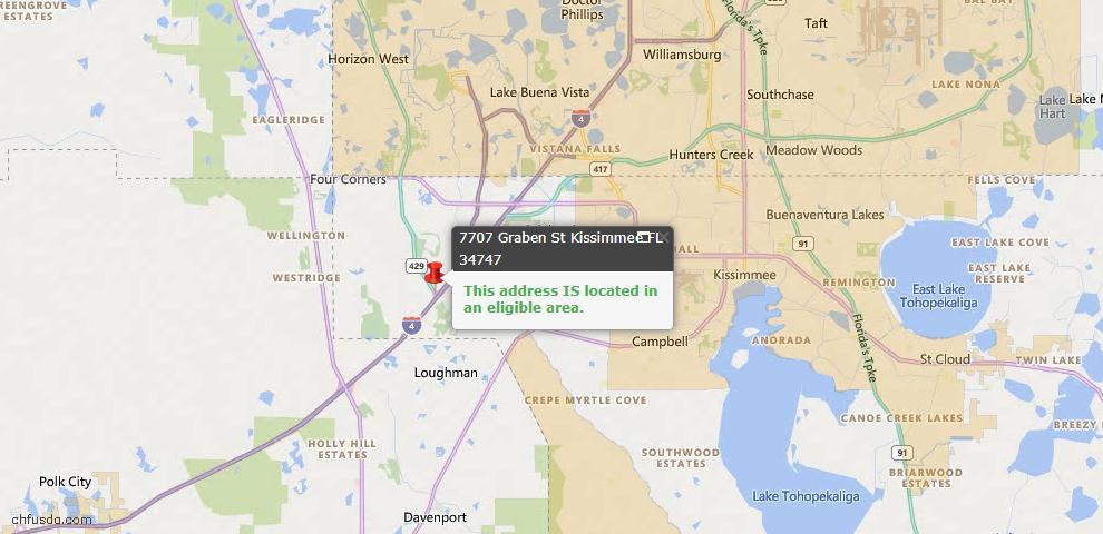 USDA Loan Eligiblity Map - 7707 Graben St, Kissimmee, FL 34747