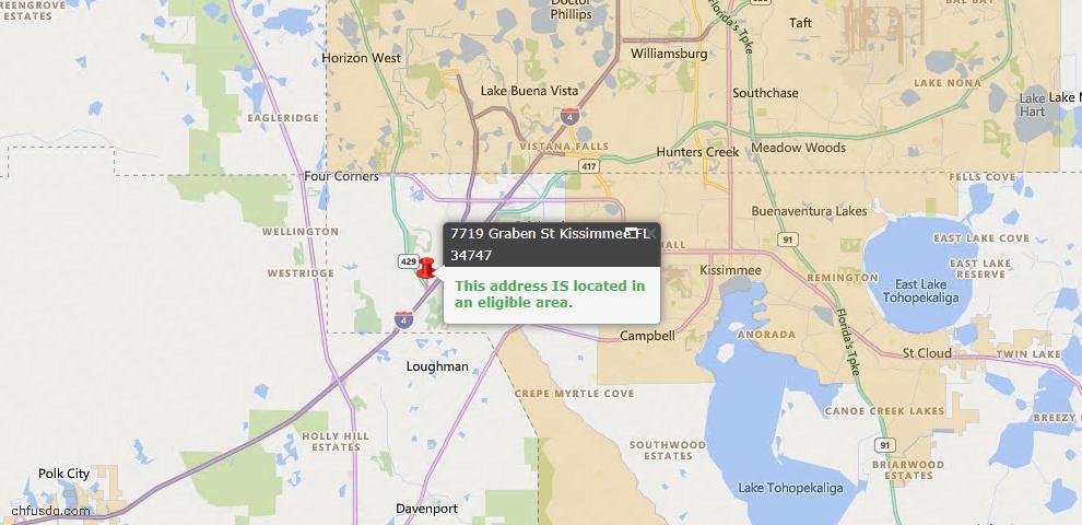 USDA Loan Eligiblity Map - 7719 Graben St, Kissimmee, FL 34747