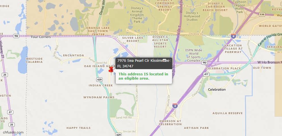 USDA Loan Eligiblity Map - 7976 Sea Pearl Cir, Kissimmee, FL 34747