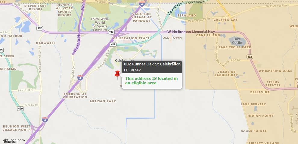 USDA Loan Eligiblity Maps From - Celebration, FL