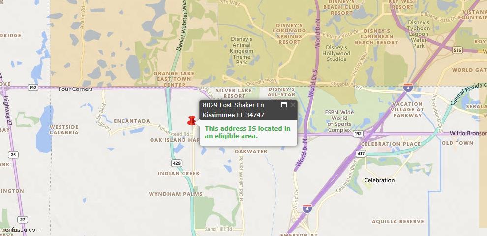 USDA Loan Eligiblity Map - 8029 Lost Shaker Ln, Kissimmee, FL 34747