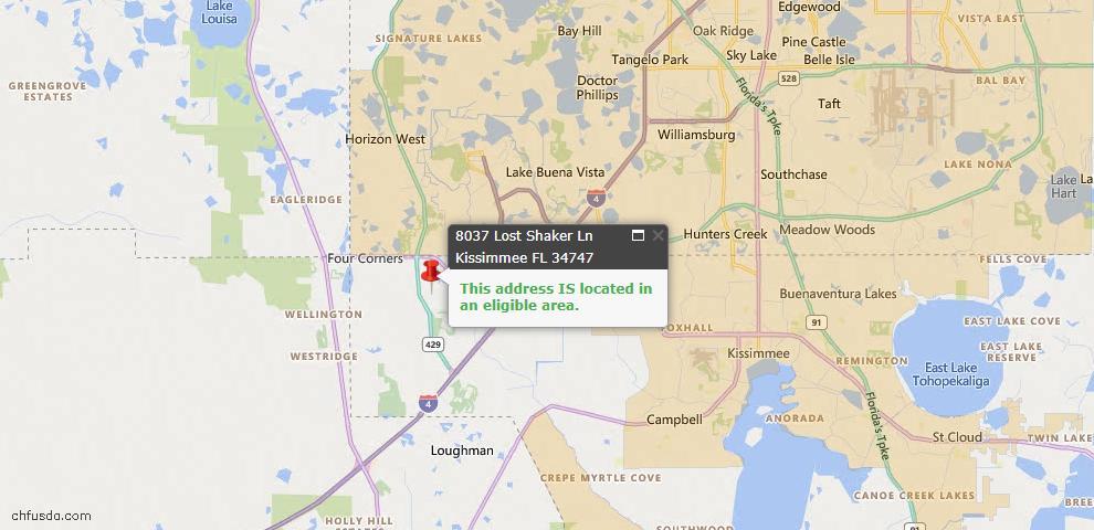 USDA Loan Eligiblity Map - 8037 Lost Shaker Ln, Kissimmee, FL 34747