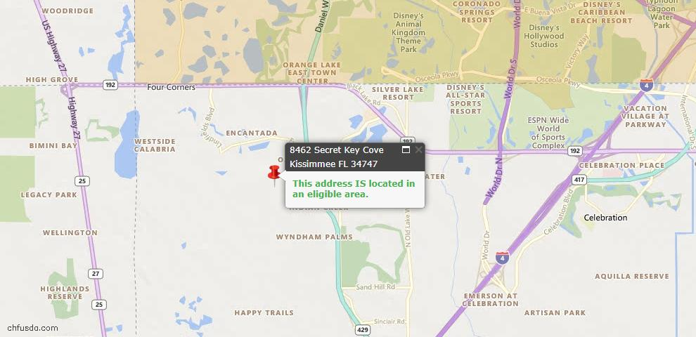 USDA Loan Eligiblity Map - 8462 Secret Key Cv, Kissimmee, FL 34747