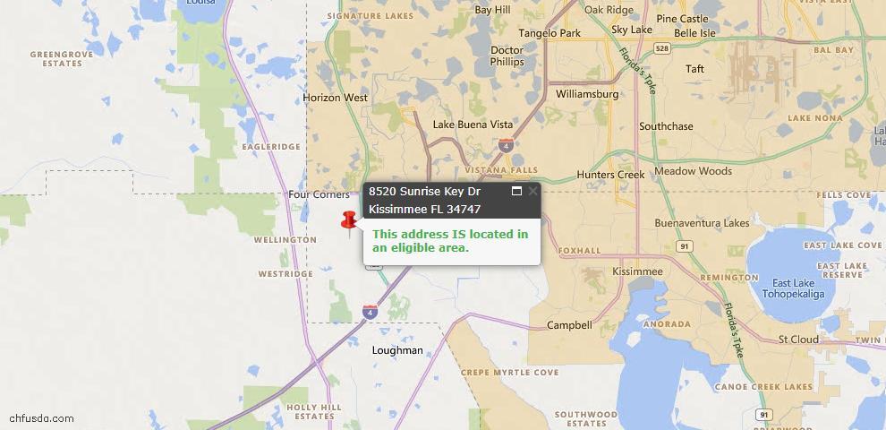 USDA Loan Eligiblity Map - 8520 Sunrise Key Dr, Kissimmee, FL 34747