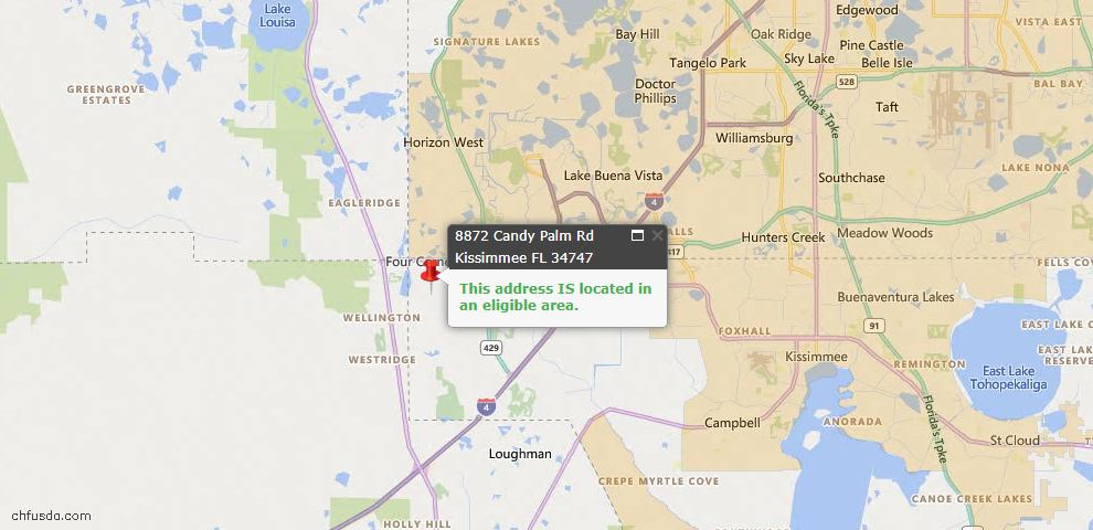 USDA Loan Eligiblity Map - 8872 Candy Palm Rd, Kissimmee, FL 34747