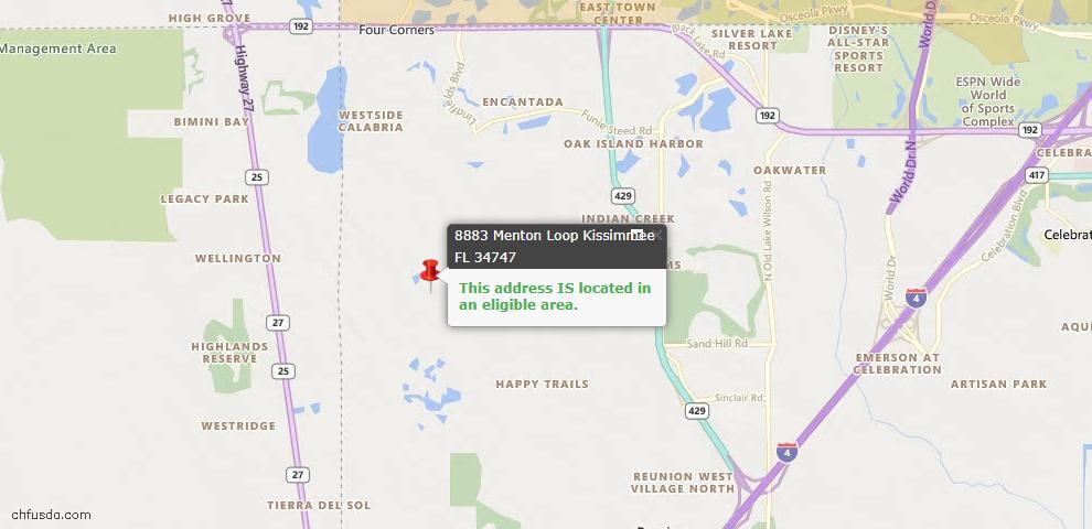 USDA Loan Eligiblity Map - 8883 Menton Loop, Kissimmee, FL 34747