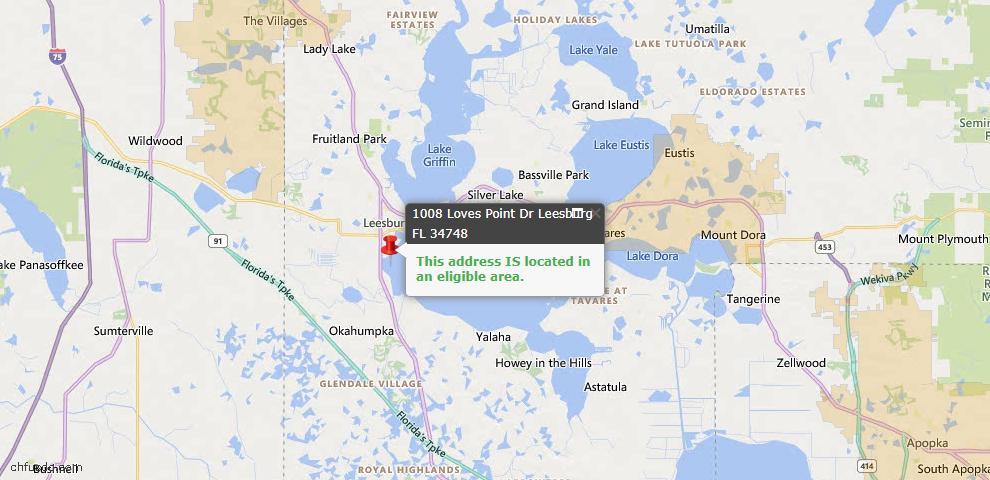 USDA Loan Eligiblity Map - 1008 Loves Point Dr, Leesburg, FL 34748